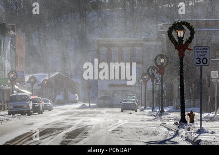 Winter winds whip through the village of Fort Plain, New York state. - Stock Photo