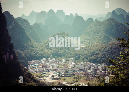 Aerial view of an village from Moon Hill mountain. Yangshuo, China, Asia - Stock Photo