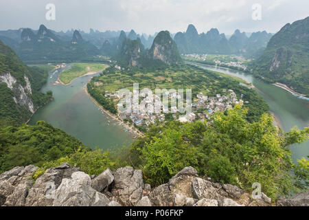 Landscape of Guilin, Li River and Karst mountains. Located near The Ancient Town of Xingping, Yangshuo, Guilin, Guangxi, China. - Stock Photo
