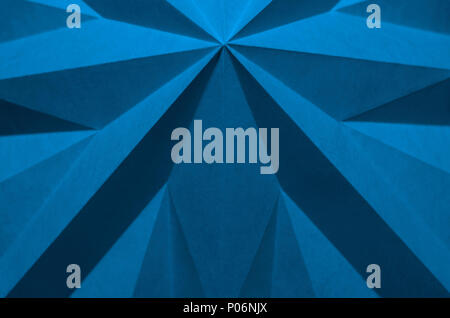 blue origami background abstract wallpaper. Shallow focus, graphic macro, angular, monochrome folded paper. Pantone 16-4132; Little Boy Blue - Stock Photo