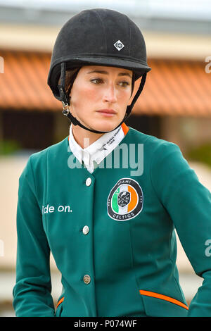 Cannes, France. 08th June, 2018. American Jessica Springsteen competes during the 2018 Longines Global Champions League in Cannes on June 08, 2018 Credit: BTWImages Sport/Alamy Live News - Stock Photo