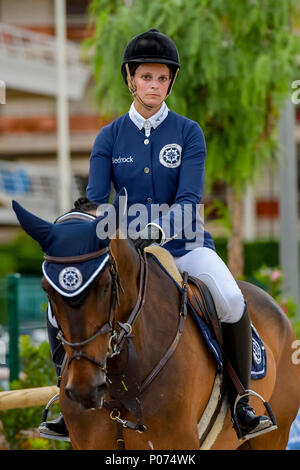 Cannes, France. 08th June, 2018. Grece Athina Onassis  competes during the 2018 Longines Global Champions League in Cannes on June 08, 2018 Credit: BTWImages Sport/Alamy Live News - Stock Photo