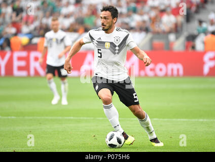 08 June 2018, Germany, Leverkusen: Soccer, international, Germany vs Saudi Arabia at the BayArena. Germany's Mats Hummels. Photo: Ina Fassbender/dpa - Stock Photo