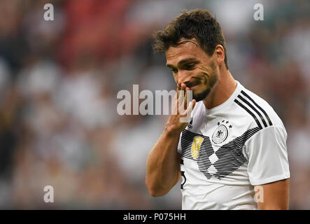 08 June 2018, Germany, Leverkusen: Soccer, international, Germany vs Saudi Arabia at the BayArena. Germany's Mats Hummels. Photo: Marius Becker/dpa - Stock Photo
