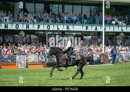 While riding a horse, a rider from the Atkinson Action Horses gallops across the showground in front of thrilled spectators during a performance at the South Of England Show in Ardingly, Sussex, UK. - Stock Photo