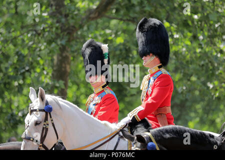 London, UK, 9 June 2018.  HRH Prince William, the Duke of Cambridge, on his horse, Wellesey, Trooping the Colour Credit: amanda rose/Alamy Live News Credit: amanda rose/Alamy Live News - Stock Photo