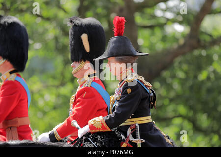London, UK, 9 June 2018.  HRH Princess Anne, The Princess Royal, on Horseback,Trooping the Colour Credit: amanda rose/Alamy Live News Credit: amanda rose/Alamy Live News - Stock Photo