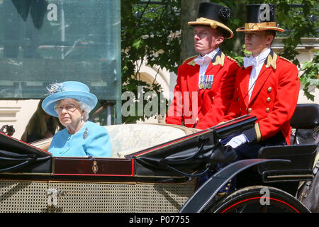 The Mall. London, UK. 9 June 2018 - HM The Queen Elizabeth II joined by other members of the Royal Family travel along the Mall in an open top carriage during the Trooping the Colour which marks the 92nd celebration of The Queen's official birthday, during which she inspects troops from the Household Division as they march in Whitehall, before watching a fly-past from the balcony at Buckingham Palace. Credit: Dinendra Haria/Alamy Live News - Stock Photo
