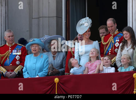 Princess Charlotte and Prince George with other members of the British Royal family on the balcony of Buckingham Palace after the Trooping of the Colour 2018. Trooping the Colour marks the Queens official birthday. Trooping the Colour, London, June 9, 2018. - Stock Photo