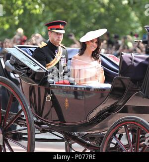 London, UK, 9th June, 2018. Prince Harry, Duke of Sussex and Meghan, Duchess of Sussex at the Trooping The Colour 2018 Credit: RM Press/Alamy Live News - Stock Photo