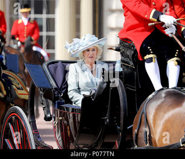 London, UK. 09th June, 2018. Camilla, Duchess of Cornwall leave at Buckingham Palace in London, on June 09, 2018, to attend Trooping the colour, the Queens birthday parade Photo : Albert Nieboer/Netherlands OUT/Point de Vue OUT - NO WIRE SERVICE - Credit: Albert Nieboer/RoyalPress/dpa/Alamy Live News - Stock Photo