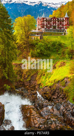Grand hotel Giessbach on the waterfall. Switzerland - Stock Photo