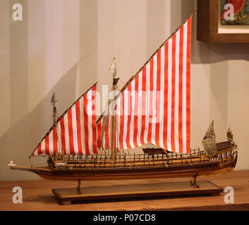 Model of the Galley Real, Don Juan's flagship at the battle of Lepanto (1571). Barcelona Maritime Museum. Spain.