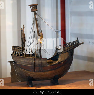 Coca of Mataro. Cocche votive model, Mediterranean adaptation of cog. 15th cent. Maritime Museum of Barcelona. Spain. - Stock Photo