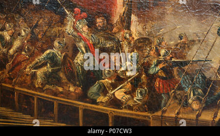 Battle of Lepanto, Octuber 1571. Holly League joined forces against Ottomans. By A.Brugada. Detail.