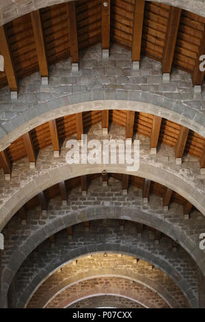 Spain. Barcelona Royal Shipyard. Gothic building. 13th century. Barcelona Maritime Museum. - Stock Photo