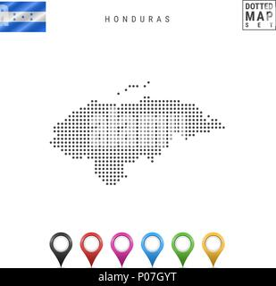 Vector Dotted Map of Honduras. Simple Silhouette of Honduras. National Flag of Honduras. Set of Multicolored Map Markers - Stock Photo