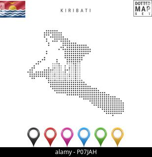 Vector Dotted Map of Kiribati. Simple Silhouette of Kiribati. National Flag of Kiribati. Set of Multicolored Map Markers - Stock Photo