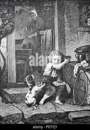 puppy begging for food, young dog wants the food of a boy, Junger Hund bettelt bei einem Kind um Futter, digital improved reproduction of an original print from the year 1881 - Stock Photo