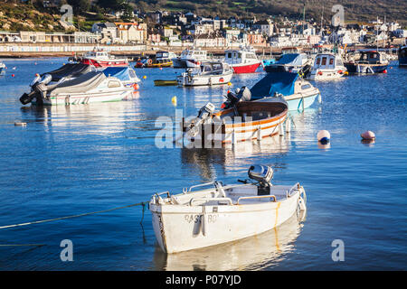 Early morning on the harbour at Lyme Regis in Dorset, UK. - Stock Photo
