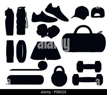 Black silhouette. Set of sports accessories and clothes. Icons for classes in the gym. Vector illustration isolated on white background. - Stock Photo