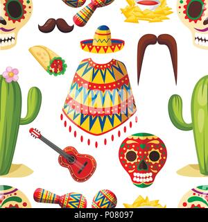 Seamless pattern. Mexico colorful symbols. Mexican vector icons. Latin traditional ethnicity symbols. Cartoon style design. Vector illustration on whi - Stock Photo