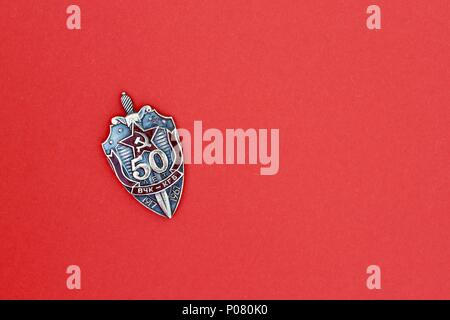 Single KGB badge commemorating 50 years anniversary. - Stock Photo