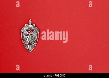 Single KGB badge commemorating 70 years anniversary. - Stock Photo