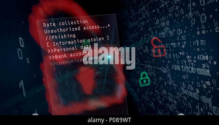 Cyber security breach on digital background concept. Opening padlocks for access to data, computer hacking. - Stock Photo