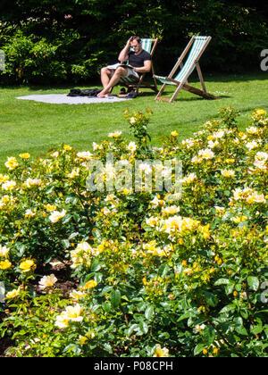 People Relaxing in Sunshine, Queen Mary's Gardens, Rose Garden, Regents Park, London, England, UK, GB. - Stock Photo