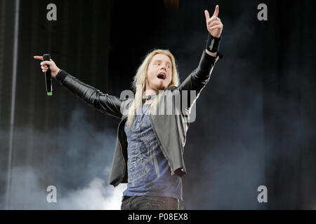 Marc Hudson of Dragonforce performs during Download Festival 2018 at Donington Park, Derby on 8th June 2018. - Stock Photo