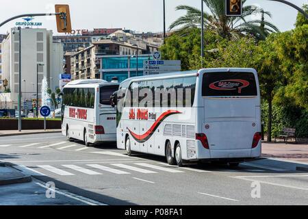 Spain, Lloret de Mar - 22 September 2017: Two bus tour companies BISS TOURS and SAS TOURS - Stock Photo