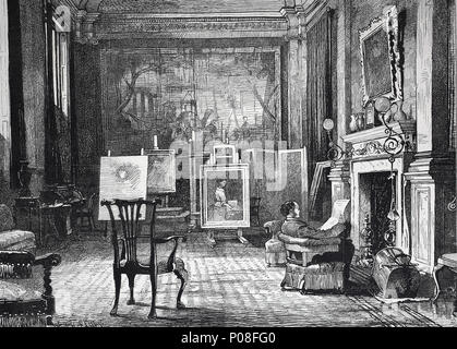 an artist studio, Mr. J.E. Millais at home. Sir John Everett Millais, 1st Baronet, 1829 - 1896, was an English painter and illustrator who was one of the founders of the Pre-Raphaelite Brotherhood, digital improved reproduction of an original print from the year 1881