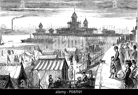 New Brighton Pier, The Brighton Palace Pier, commonly known as Brighton Pier or the Palace Pier in Brighton, England, digital improved reproduction of an original print from the year 1881