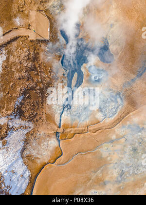Aerial view, steaming river and fumaroles, geothermal area Hverarönd, also Hverir or Namaskard, North Iceland, Iceland - Stock Photo
