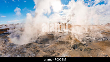 Steaming hot springs, geothermal area Hverarönd, also Hverir or Namaskard, Northern Iceland, Iceland - Stock Photo