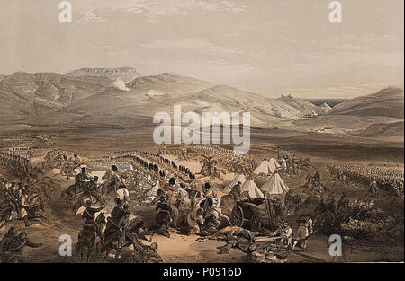 .  English: Print shows the Enniskillen Dragoons and the 5th Dragoon Guards engaging the Russian cavalry in the midst of the camp of the light cavalry brigade which is being plundered by the Russian troops during the battle of Balaklava.  .  English: Charge of the heavy cavalry brigade, 25th Octr. 1854  7 Charge of the heavy cavalry brigade, 25th Octr. 1854 - Stock Photo