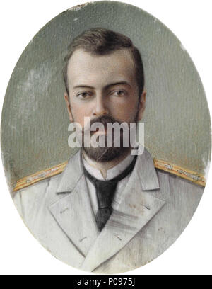 .  A PORTRAIT MINIATURE OF GRAND DUKE ALEXANDER MIKHAILOVICH IN A SILVER FRAME THE FRAME FLORENTINE, 1980; THE MINIATURE RUSSIA, CIRCA 1900 Oval, the frame centering an oval aperture containing a portrait miniature of the Grand Duke on mammoth ivory, signed indistinctly on lower left, possibly Zehngraf, the velvet backing with strut, frame marked on upper edge  . circa 1900 278 Alexandr Mikhailovich of Russia (priv.coll.) - Stock Photo