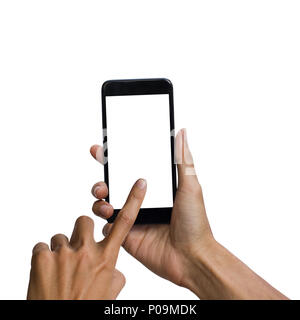 Man hand holding black smartphone with white screen for mock up design. isolated on white background. insert clipping path easy for use. - Stock Photo