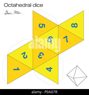 Octahedron platonic solid template. Paper model of a octahedron, one ...