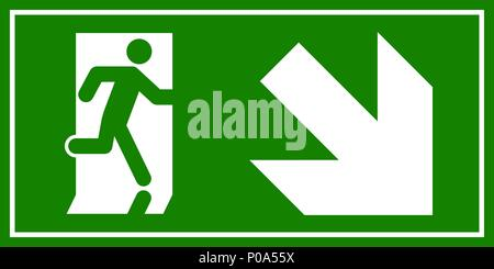 Emergency exit sign. Man running out fire exit. - Stock Photo