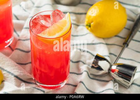 Homemade Sloe Gin Fizz with Lemon Juice - Stock Photo