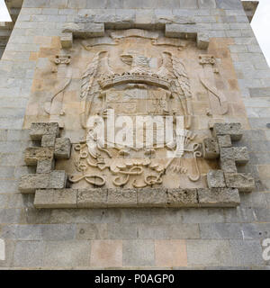Coat of arms, Calle de Los Caidos, Valley of the Fallen. Roman Catholic monumental memorial to the Spanish Civil War. Madrid, Spain. May 2018 - Stock Photo
