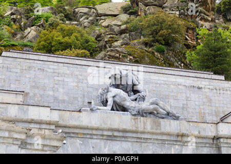 Sculpture, Calle de Los Caidos, Valley of the Fallen. Roman Catholic monumental memorial to the Spanish Civil War. Madrid, Spain. May 2018 - Stock Photo
