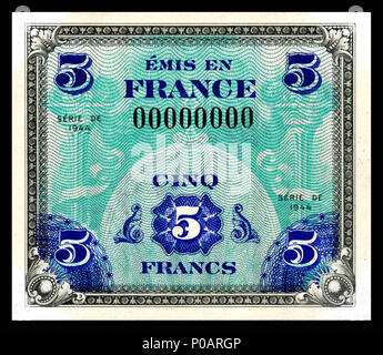 . English: Allied Military Currency-5 Francs (1944) From the first of two issues of Allied Military Currency, the First Issue Supplemental French Franc was printed in eight denominations. The 2, 5 and 10 Franc notes are square while the 50, 100, 500, 1,000, and 5,000 France notes are rectangular. The reverse design is similar for the entire issue. The present example is a specimen note (SN 00000000).  . 17 December 2013, 13:07:16. Printed by the Forbes Lithograph Manufacturing Co., Boston, US.   National Museum of American History    Native name National Museum of American History  Parent in - Stock Photo