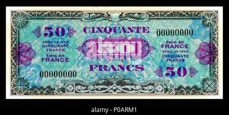 . English: Allied Military Currency-50 Francs (1944) From the first of two issues of Allied Military Currency, the First Issue Supplemental French Franc was printed in eight denominations. The 2, 5 and 10 Franc notes are square while the 50, 100, 500, 1,000, and 5,000 France notes are rectangular. The reverse design is similar for the entire issue. The present example is a specimen note (SN 00000000).  . 17 December 2013, 13:20:27. Printed by the Forbes Lithograph Manufacturing Co., Boston, US.   National Museum of American History    Native name National Museum of American History  Parent i - Stock Photo