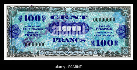 . English: Allied Military Currency-100 Francs (1944) From the first of two issues of Allied Military Currency, the First Issue Supplemental French Franc was printed in eight denominations. The 2, 5 and 10 Franc notes are square while the 50, 100, 500, 1,000, and 5,000 France notes are rectangular. The reverse design is similar for the entire issue. The present example is a specimen note (SN 00000000).  . 17 December 2013, 13:20:27. Printed by the Forbes Lithograph Manufacturing Co., Boston, US.   National Museum of American History    Native name National Museum of American History  Parent  - Stock Photo