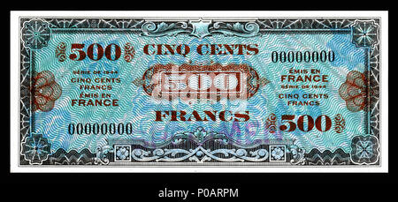 . English: Allied Military Currency-500 Francs (1944) From the first of two issues of Allied Military Currency, the First Issue Supplemental French Franc was printed in eight denominations. The 2, 5 and 10 Franc notes are square while the 50, 100, 500, 1,000, and 5,000 France notes are rectangular. The reverse design is similar for the entire issue. The present example is a specimen note (SN 00000000).  . 17 December 2013, 13:20:51. Printed by the Forbes Lithograph Manufacturing Co., Boston, US.   National Museum of American History    Native name National Museum of American History  Parent  - Stock Photo