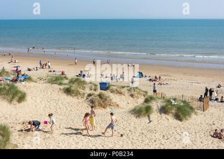 Sand dunes at Camber Sands Beach, Camber, East Sussex, England, United Kingdom - Stock Photo