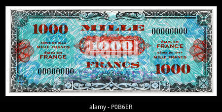 . English: Allied Military Currency-1000 Francs (1944) From the first of two issues of Allied Military Currency, the First Issue Supplemental French Franc was printed in eight denominations. The 2, 5 and 10 Franc notes are square while the 50, 100, 500, 1,000, and 5,000 France notes are rectangular. The reverse design is similar for the entire issue. The present example is a specimen note (SN 00000000).  . 17 December 2013, 13:25:58. Printed by the Forbes Lithograph Manufacturing Co., Boston, US.   National Museum of American History    Native name National Museum of American History  Parent - Stock Photo